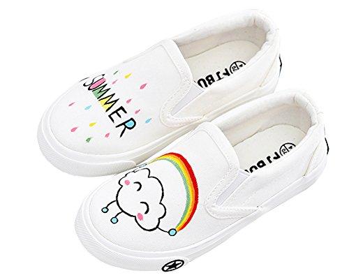 Iduoduo Baby / Peuter / Klein / Jeugdmeisjes Schattig Handgeschilderde Zomer Eenvoudig Canvas Schoenen Instappers Wit (kid)