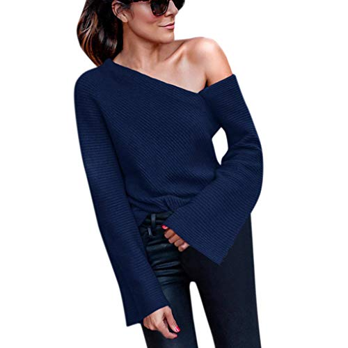 xy Irregular Off Shoulder Knitting Blouse Long Bell Sleeve Sweater Tunic Tops Sexy Knit Pullover ()