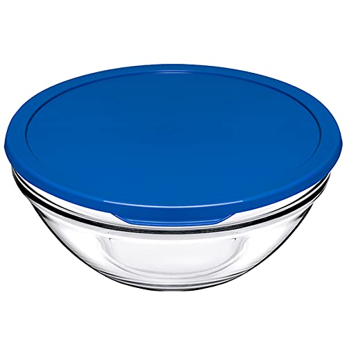 Pasabahce Glass Mixing Bowl with Lid   1135ml, Blue  1113322