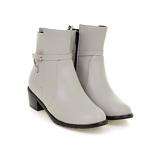 Closed Kitten top Zipper PU WeiPoot Round Women's Heels Low Gray Toe Boots pTXqwtz