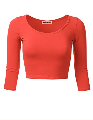 (SSOULM Women's 3/4 Sleeve Scoop Neck Cotton Slim Fit Crop Top Orange L)