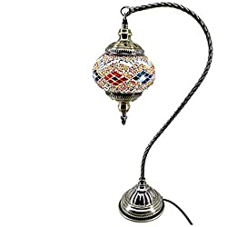 Table Lamp Swan Neck Glass Lampshade Arabian Mosaic Moroccan Lantern Chandelier Mediterranean Style Turkish Light Mosaic Lighting