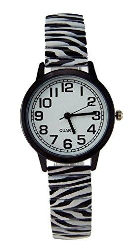 - Women's Zebra Print Stretch Band Watch Black Bezel Easy Read Dial
