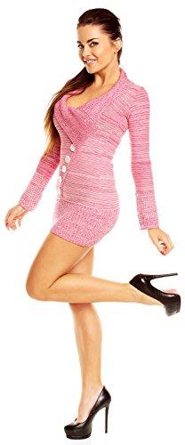 Zeta Ville - Jersey Vestido tipo suéter de punto fino grueso - para mujer - 912z Melange Fucsia