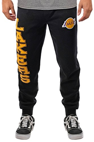 Nba Mens Los Angeles Lakers Jogger Pants Active Basic Soft Terry Sweatpants  Large  Black