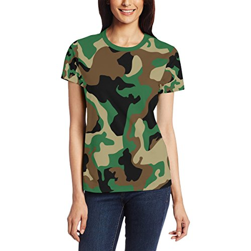 T Shirt for Women Girls Military Camo Woodland Camoflage Custom Short Sleeve ()