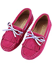 Girls Suede Moccasin Leather Slipper Doug Shoes Loafers(Toddler/Little/Big Kids)