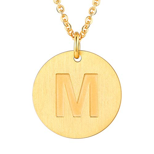 PROSTEEL Initial Letter Necklaces 18K Plated Alphabet M Personalized Men Women Jewelry Gift Minimalist Layering Layered Gold Coin ()