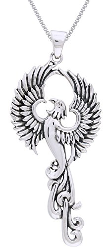 (Jewelry Trends Rising Phoenix Fire Bird Sterling Silver Pendant Necklace 18