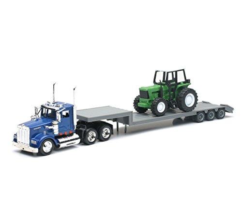 43 Tractor Diecast Scale (KENWORTH W900 Construction LowBoy Semi Hauler w/Tractor NEWRAY Diecast 1:43 Scale)