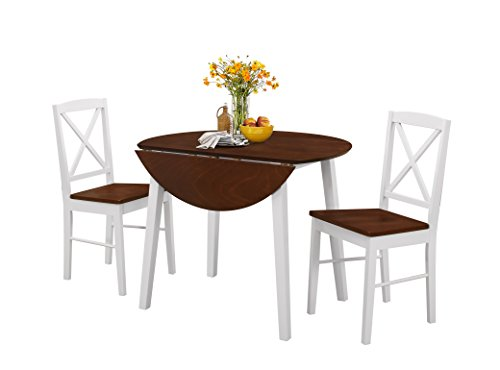 Pilaster Designs - 3-Piece Dining Set, Cherry / White Finish Wood Dinette Drop Leaf Table & 2 Chairs