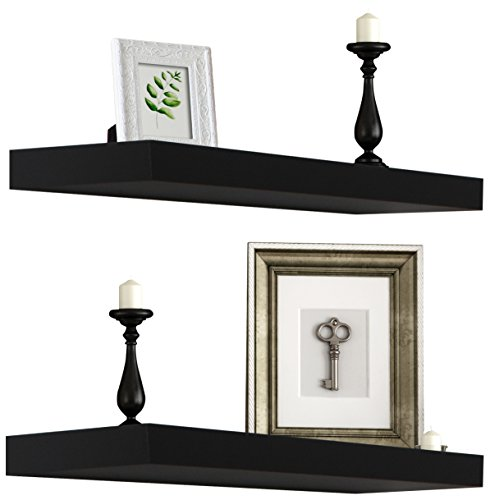 Sorbus Floating Shelf - Hanging Wall Shelves Decoration - Perfect Trophy Display, Photo Frames (Black)
