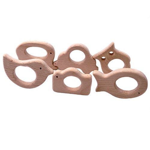 Price comparison product image Amyster 6pcs DIY Pendent Hand Cut Wooden Elephant Car Owl Bird Camera Fish Eco-friendly Wooden BabyTeether Natural Beech Wooden Product