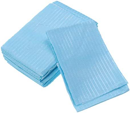 Healifty Dental Bibs 10PCS Oral Disposable Paper Dental Lab Equipment Oral Paper Scarf Towel for Dentist Clinic Use (Sky Blue)