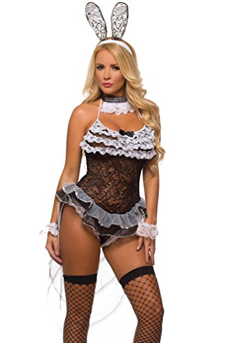 Velvet Kitten Sexy Bunny Girl Lingerie Costume for Women 9730 (One Size fits most, Black/White) (Sexy Bunny Lingerie)