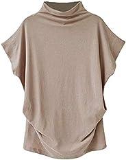 Plus Size Tops,Women Shirts Turtleneck Short Sleeve Cotton Blouse T Shirt Casual Loose Tunic Tops 2019 Chaofan