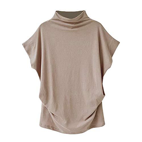Plus Size Tops,Women Shirts Turtleneck Short Sleeve Cotton Blouse T Shirt Casual Loose Tunic Tops 2019 Chaofanjiancai Khaki