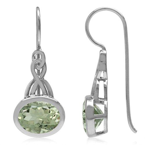 Drop Hook Amethyst Earrings (3.28ct. 9x7MM Natural Oval Shape Green Amethyst 925 Sterling Silver Celtic Knot Hook Earrings)