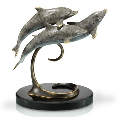 San Pacific International 8H in. Triple Dolphins on Marble Base -