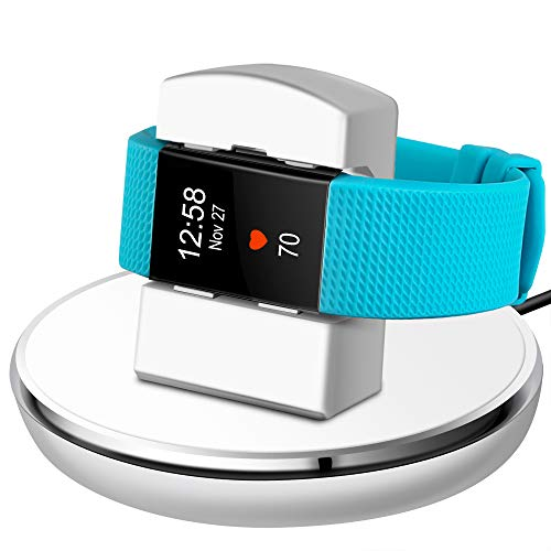 EPULY Compatible with Fitbit Charge 2 Charger, Compatible with Fitbit Charge 2 Charging Replacement Accessories Stand Dock Station 3 ft Charging Cable Smart Watch White