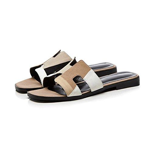 Hausschuhe Knöchel KJJDE Advanced Schuhe Damen Sandalen Prämie Gladiator Atmungsaktiv Hohl L1522 Flache White WSXY Leather Nähte Flache t1g17rx