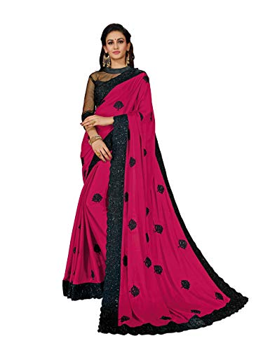 MANOHARI Women's Pink Georgette Embroidered Saree with Blouse