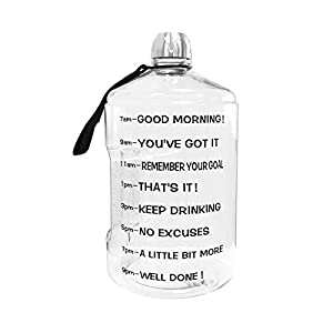 1 Gallon Water Bottle Motivational Fitness Workout with Time Marker  Drink More Water Daily   Clear BPA-Free   Large 128 Ounce/43OZ of Water Throughout The Day (1 gallon-transparent, 1 gallon)