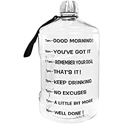 BuildLife 1 Gallon Water Bottle Motivational Fitness Workout with Time Marker |Drink More Water Daily|Clear BPA-Free|Large 128OZ of Water Throughout The Day(1 Gallon-Transparent,1 Gallon)