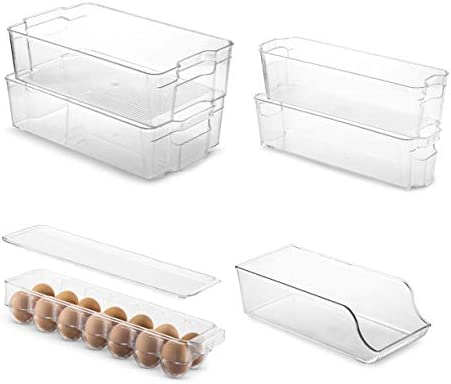 """41SmSeWFUTL. AC Set Of 6 Refrigerator Organizer Bins - Stackable Fridge Organizers for Freezer, Kitchen, Countertops, Cabinets - Clear Plastic Pantry Storage Racks    Keep your refrigerator, freezer, pantry or countertops neatly organized with these fridge organizer storage bins Ideal sized to fit fruits, vegetables yogurts, canned goods, food packets, cheese, meat, also good for storing dry goods in the pantry 6-piece set includes: 2 Wide drawer 14.5"""" L x 8.5"""" W x 4"""" H. 2 Narrow drawer 14.75"""" L x 4.25"""" W x 4"""" H. 1 Egg holder with lid stores 14 eggs 14. 5"""" L 4. 5"""" W x 3"""" H. 1 Soda can holder fits 9 standard size 12oz soda cans measures 13.5"""" x 5.5"""" x 3.75"""" Made of durable high quality 100% food safe BPA Free shatter-resistant plastic Designed with practical carry handles and interior non slip texture, clean with warm soapy water. DO NOT PLACE IN DISHWASHER"""
