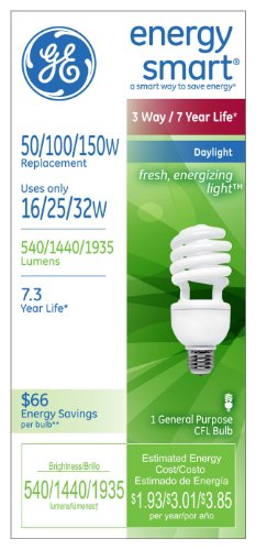 GE Lighting 63517 Energy Smart CFL 3-way 16/25/32-Watt (150-watt replacement) 540/1440/1935-Lumen T3 Spiral Light Bulb with Medium Base, 6-Pack by GE Lighting (Image #2)