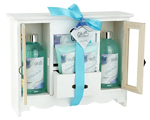 Spa Gift Basket With Refreshing Ocean Bliss fragrance - Bath Set Includes Shower Gel, Bubble Bath, Bath Salts And more - Great Wedding, Birthday, Anniversary, or Thank You Gift Set for Women and Girls (Ideas For A Spa Gift Basket)