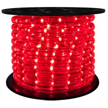 Brilliant 120 Volt LED Rope Light Versatile, Durable, and Flexible, LED Rope Lighting - 148 Feet - Red