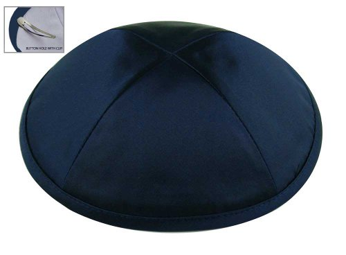 Zion Judaica Deluxe Satin Kippot for Affairs or Everyday Use Single or Bulk Orders - Optional Custom Imprinting Inside for Any Affair (1PC, Blue Navy)