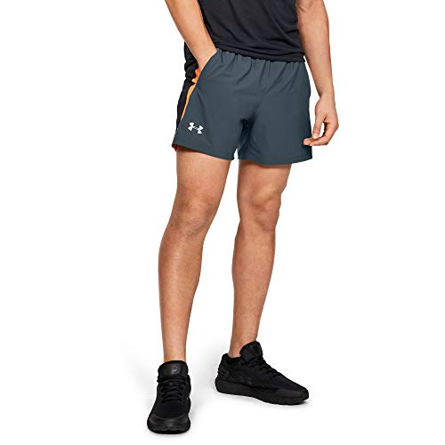 Under Armour Launch Woven 5'' Short, wire//Reflective, Small (Under Armour Mens Shorts)