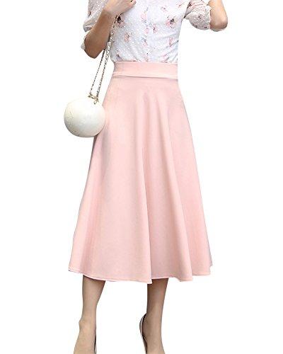ZiXing Summer Basique Jupe Femmes Haute Taille Pliss Midi Boho Jupes Femme Rose