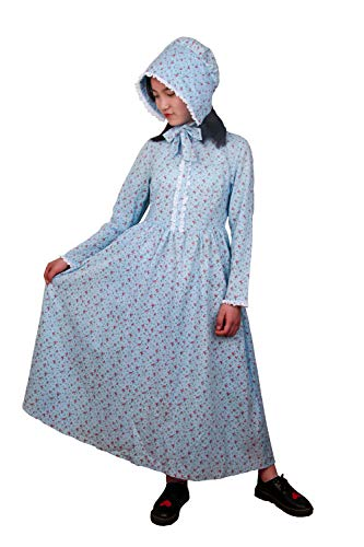 Girls Calico Colonial Pioneer Dresses Child Frontier Prairie Pilgrims Costume with Matching Bonnets 6 Blue