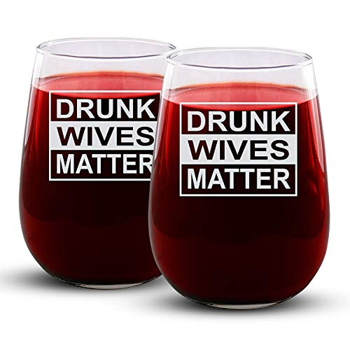 Drunk Wives Matter - 2 Pack - Engraved Wine Glass - Stemless - 17oz - Funny Gifts for Men and Women by Sandblast Creations