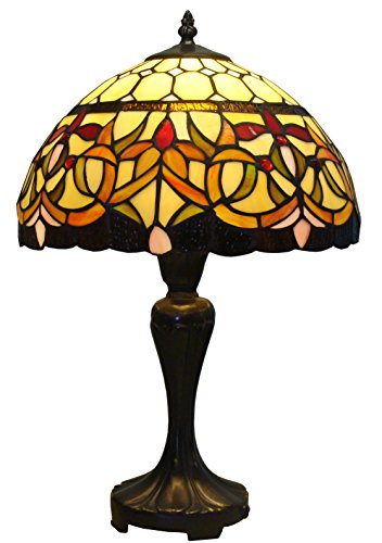 Amora Lighting AM018TL12 Tiffany Style Floral Table Lamp 12-Inch Wide, Multi by Amora Lighting