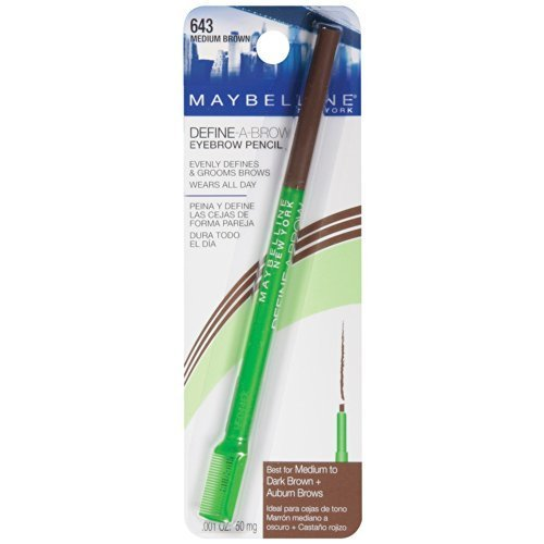 Maybelline Define-A-Brow Eyebrow Pencil, Medium Brown [643], 1 ea (Pack of -