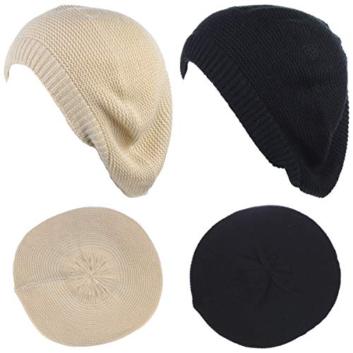 (BYOS Chic French Style Lightweight Soft Slouchy Knit Beret Beanie Hat in Solid)