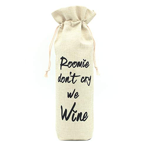 Roommate Wine Bag-Gift for Roommate Present for College Friend Gifts for College Roommate Presents for Dorm Room Friend Apartment Friend Graduation Gift-Cotton linen drawstring wine bags