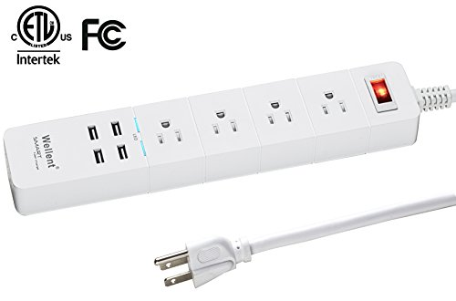 wellent surge protector power strip multi outlets socket,4 ac outlets and 4 smart usb quick charging ports,home/office powerport strip with long 6ft cord for smartphone tablets home appliances
