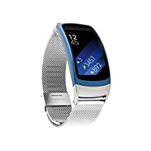 Gear Fit2 Band Pinhen Gear Fit2 Mesh Milanese Magnetic Loop Stainless Steel Bracelet Strap Replacement Band Wristband For Samsung Gear Fit 2 SM-R360 GPS Fitness tracker Smart Watch (Mesh Silver)