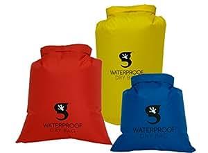 Geckobrands Lightweight Compression Dry Bags Assortment, Red/Blue/Yellow