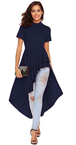 SimpleFun Womens Ruffle High Low Asymmetrical Short Sleeve Bodycon Tops Blouse Shirt Dress (XXL, Blue) ()