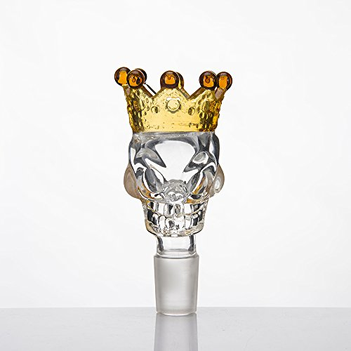 Skull Crown Glass Herb Holder Smoking Bowl (14mm Male Clear Yellow Crown) ()