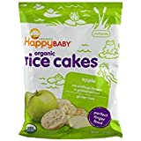 Happy Baby Organic Rice Cakes Apple, 1.4 Ounce Bag (Pack of 10) Puffed Brown Rice Crackers, Baby Snacks or Toddler Snacks, No Added Colors, Encourages Tactility & Self-Feeding (Packaging May Vary)