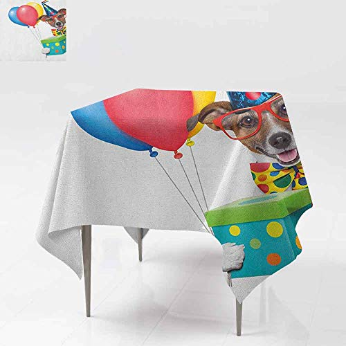 Square Tablecloth,Kids Birthday,Colorful Balloons Boxes and Dots Print Dog Animal Puppy with Party Cone Print,Great for Buffet Table, Parties& More,36x36 Inch - Outdoors Great Flannel Print