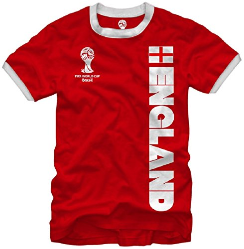 FIFA World Cup Soccer England Ringer T-Shirt (XX-Large, Red)