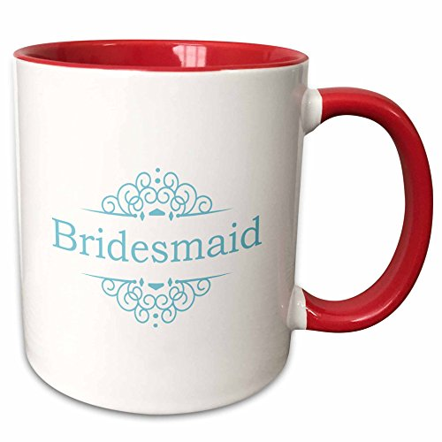 3dRose InspirationzStore Occasions - Bridesmaid of the Wedding in blue - part of matching marriage party ceremony set - stylish swirls - 11oz Two-Tone Red Mug (mug_151550_5)